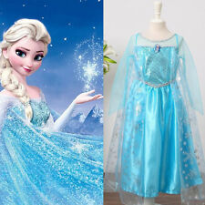 3-8Y Blue Frozen Princess Elsa Party Tulle Costumes Girls Kids Dresses Dress