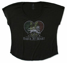 ZION ROOTSWEAR - RASTA AT HEART LION BLK DOLMAN SHIRT NEW OFFICIAL REGGAE LADIES
