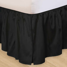 SOLID BLACK Twin Queen or King BEDSKIRT - 100% COTTON DUST RUFFLE BED SKIRT
