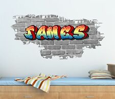 Personalised Graffiti Brick & Name Wall Sticker,Decal, Graphic tr34 bw