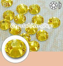 GENUINE Swarovski Citrine (249) Hotfix Rhinestone Iron On Round Crystal Bead Gem