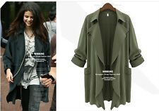 Womens Casual  Long Sleeve  Trench Double Breasted Coat Jacket Outwear Plus Size