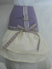 DOG CAT FERRET~Harness Country Cowgirl Style PURPLE Eyelet Plaid BOW Dress