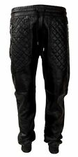 New Men's Black Croco Print PU Faux Leather Joggers w/ Quilted Zipper Pockets