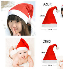 Lovely Christmas Cap Adult Unisex Kid Red White Santa Hat Winter Happy Xmas Gift