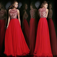Red Party Gown Wedding New Long Dress Boat Neck Pageant Evening Prom Ball Bridal