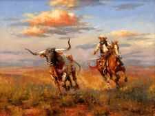 Cowboys and Longhorns HD Print Oil painting Picture on canvas L010
