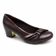 Comfort Plus SHARON Ladies Womens Sash Wide Fit Smart Court Shoes Burgundy Red