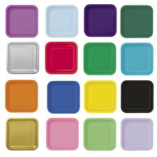 14x Square Paper Plates Party Solid Colours Tableware Events Catering Food