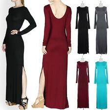 Scooped Back Long Sleeve Solid Maxi Dress with Side Slit Plain Rayon Span S M L