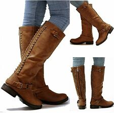 New Womens OT14 Tan Gold Studded Knee High Riding Boots Sz 5.5 to 11