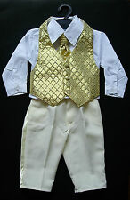 BABY BOY OUTFIT, SUIT,Gold, Special Occasion, Wedding, Christening, Ages 0-3 Yrs