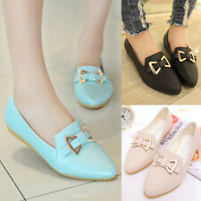 Women Bowknot Slip On Oxfords Flat Ballerina Ballet Faux Leather Casual Shoes