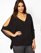 Sexy Women V Neck Plus Size Batwing Sleeve Blouse Chiffon T Shirt Tops US Seller