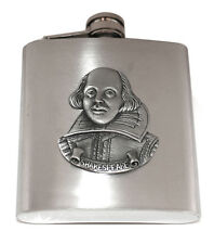 Shakespeare, Writers  Pewter Emblem Hip Flask (with optional engraving)