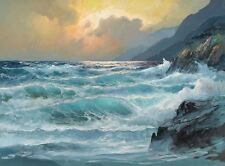 Ocean waves HD Print Oil painting Picture on canvas L058