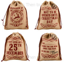 Vintage Christmas Jute Hessian Present Gift Bag Stocking Personalise Chic Shabby