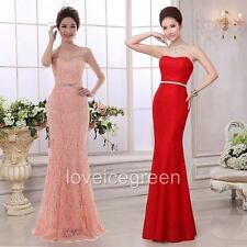 Strapless Mermaid Lace Long Dress Prom Ball Gown Evening Cocktail Wedding Party