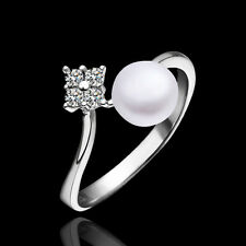 Fashion 925 Silver Platinum Plated Pearl Accessories Women Ring Size 6-9 LR009