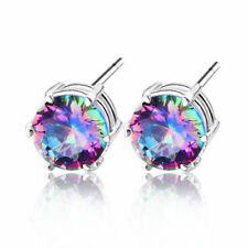 Woman Christmas Gift Rainbow Mystic Topaz 925 Sterling silver Plated Earrings
