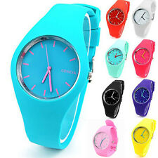 Fashion Soft Geneva Womens Candy Jelly Silicone Sports Watch students Watch SK