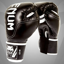 Venum Competitor Boxing Gloves - Black - Skintex Leather sparring training