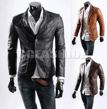 Hot Luxury Men's Fashion Slim Trench Coat Top PU Leather Jacket Outwear 3 Colors
