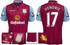 *14 / 15 - MACRON ; ASTON VILLA HOME SHIRT SS + PATCHES / HENDRIE 17 = SIZE*