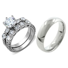 His Hers 3 PCS Brilliant CZ Stainless Steel Wedding Set w/ Mens Matching Band