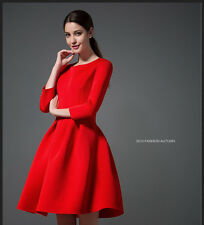 Autumn Fashion Womens Round Collar 3/4 Sleeve Ball Gown Party Dress
