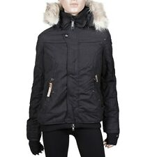 Khujo Ashley Warm Winter Jacket Women's With Hoodie Black New