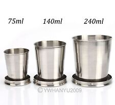 Stainless Steel Folding Travel Cup Keychain Telescopic Retractable Portable New