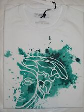Nwt VERSACE Collection Men's White Green Print Medusa T-Shirt