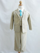 Boy Khaki/Taupe/Ivory with color long tie formal suit wedding party all size