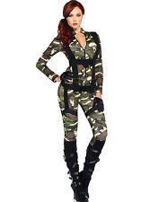 Sexy Paratrooper Camo Military Army Girl Jumpsuit Bodysuit Halloween Costume