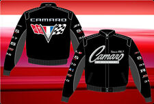 Camaro Jacket Collage Logos Black Twill Embroidered Licensed JH Design Jackets