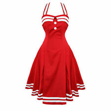Collectif Sindy Red Nautical Sailor Vintage 50s Prom Sun Dress