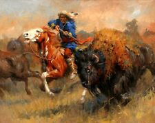 HD Print Oil painting Picture Hunting Buffalo on canvas L108