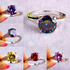 Gift Rainbow & White Sapphire & Multi Stone Gems Silver Ring Size L N P R T V Y