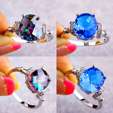 Sexy Oval Cut Rainbow & Blue & White Sapphire Gems Silver Ring Size L N P R T V