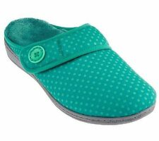 Ladies Vionic with Orthaheel Technology LAURA Teal Dots Slippers NEW
