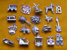 HH VARIOUS VINTAGE STERLING SILVER CHARM 18 POODLE TURTLE GUITAR CLOG TRACTOR