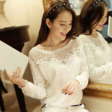 Womens Ladies Long Sleeve Embroidery Lace Tops Chiffon Shirt Blouse Size6-12