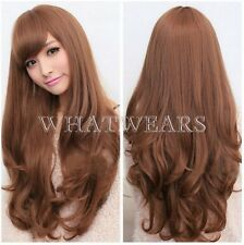 Womens Long Brown Curly Wavy Full Wigs Party Hair Cosplay Lolita Fashion Wig HUS