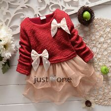 Toddlers Baby Girl Kids Princess Net Party Flower Dress Knit Clothes Spring Fall