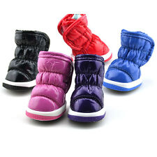 Pet Puppy Shoes Small Dog Ruffle Soft PU Leather Winter Warm Booties Boots Shoes