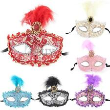 Women Venetian Masquerade Eye Mask Plastic Feather Christmas Carnival Party