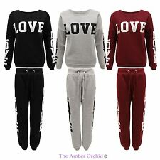 LADIES WOMENS CASUAL LOVE PRINT TRACKSUIT GYM JOGGING BOTTOMS SWEATSHIRT TOP