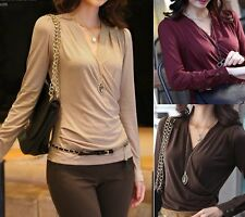 Fashion Sexy V-neck Womens Milk Wire Tops Long Sleeve Shirt Casual Blouse