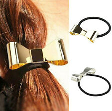 Hot Punk Polish Metal Bow Tie Hair Band Cuff Wrap Pony Tail Rope Holder Headband